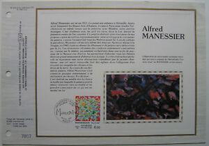 ALFRED-MANESSIER-Feuillet-CEF-Timbre-1er-jour-SOIE-1981