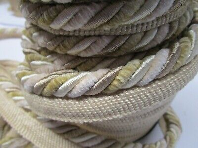 "Braided Upholstery Trim Lip Cord 1//4/"" Sand Cording By The Yard Cotton Rayon"