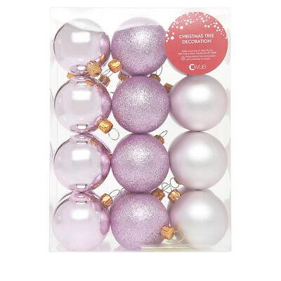 NEW Vue Luxe 24 Pack Shatterproof Light Pink Bauble Matte/Glitter/Shiny