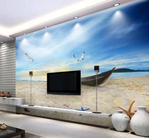 3D Strandboot 8553 Tapete Wandgemälde Tapete Tapeten Bild Familie DE Summer