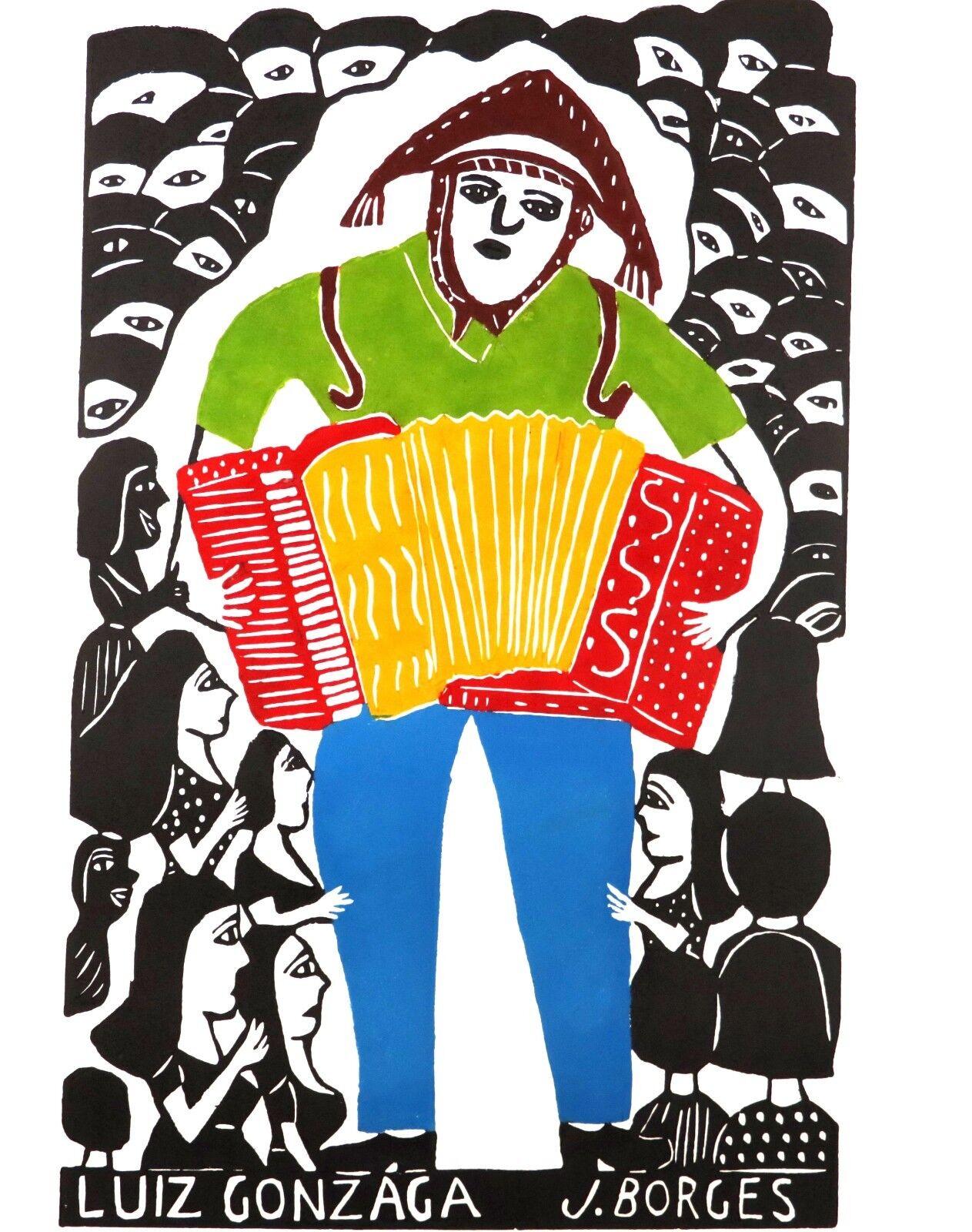 "Borges /""LUIZ GONZAGA/"" J Original Woodcut Print on Paper"