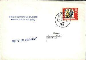 """1963 Bateau Ms Stena Germanica Cachet """"aucun Bureau De Poste Au Bord"""" Tourné à Partir De Kiel-afficher Le Titre D'origine"""