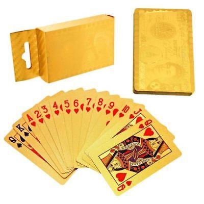 24k 99.9% Puro Placcato Oro Carte Da Gioco Mazzo Poker Blackjack-mostra Il Titolo Originale