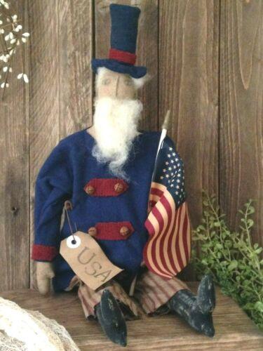 Beautiful Primitive Handmade 4th Of July Americana Folk Art UNCLE SAM Doll NEW!