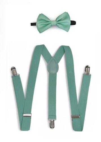 Popular Solid Men Women Clip-on Suspender Bow-Tie Combo Adjustable Teal#001