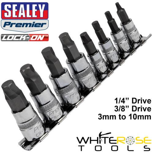 """Sealey Hexagonal Bit Set Con Cerradura 8pc 1//4/"""" 3//8/"""" unidad 3mm-10mm Allan Llave Allen"""