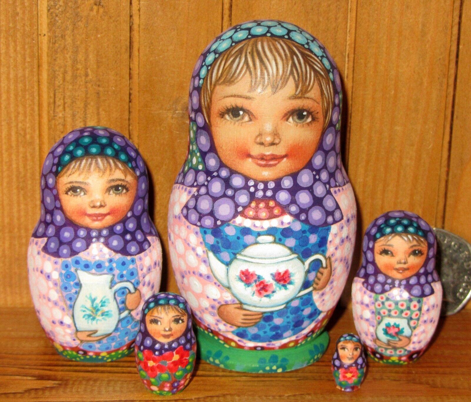 Nesting Russian Dolls Matryoshka 5 Girls SOKIRKINA signed Small MATT TEA SET
