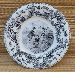Ancienne assiette Aout scène galante céramique CREIL GRIGNY french antique plate wNH9N58E-09114814-135324234