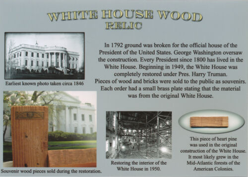 WHITE HOUSE Wood Relic President UNIQUE GIFT Actual 1950 Material Piece RARE