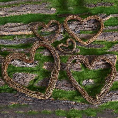 Retro Dried Artificial Rattan Wreath Heart Shape Xmas Home Door Wall Decor DIY