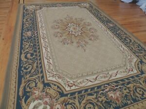 6x9 French Aubusson Area Rug Oriental Blue Beige Green Floral Wool Hand Knotted Ebay