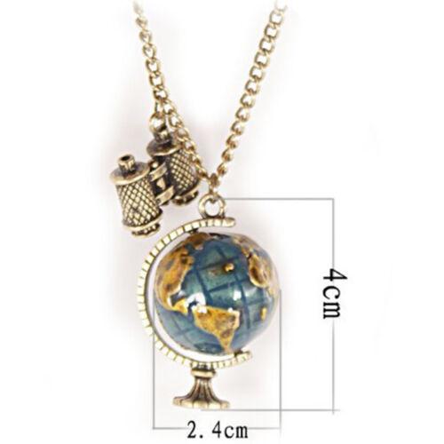Fashion Vintage Mini Globe Telescope Necklaces Dangle Charm Pendant Long Chains
