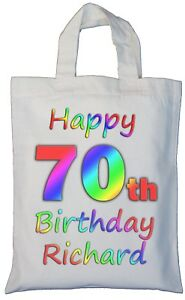 Image Is Loading PERSONALISED 70th BIRTHDAY COTTON GIFT BAG Present