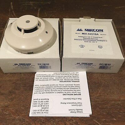 MIRCOM MIX-5251BA INTELLIGENT 135F FIXED HEAT THERMAL DETECTOR