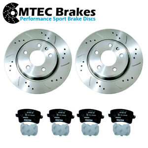 AUDI-A4-B8-A5-8T-REAR-DRILLED-GROOVED-BRAKE-DISCS-amp-PADS-1-8-3-2-07-17-300mm