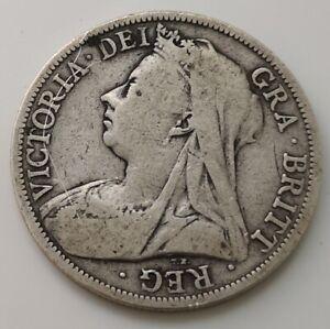 1895-Solid-Silver-Half-Crown-Coin-Old-V-Antique-Victorian-Queen-Victoria-Royalty