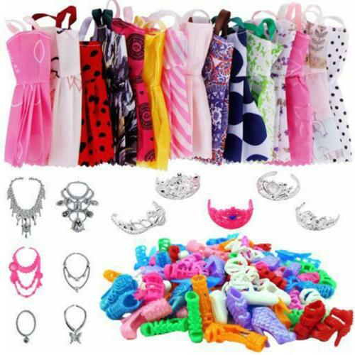 35Pcs Girl Doll Clothes Dress Suit Set Skirt Necklace Shoe For 18in Girls Dolls