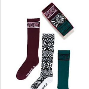 3 pairs of Victoria/'s Secret Pink Knee-Highs Holiday Cozy Socks red gray black