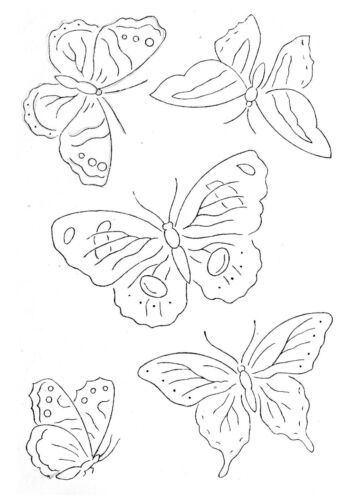 2 sheets A4 Vintage Visage iron on embroidery transfer 5 pretty Butterflies