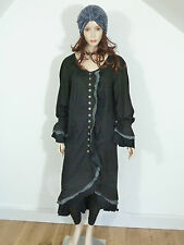 Hebbeding lagenlook black cotton  arched dress/ coat with frilled detail size 1