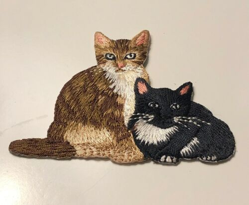 Calico And Black Cats Fully Embroidered Iron-On Fabric Appliqué