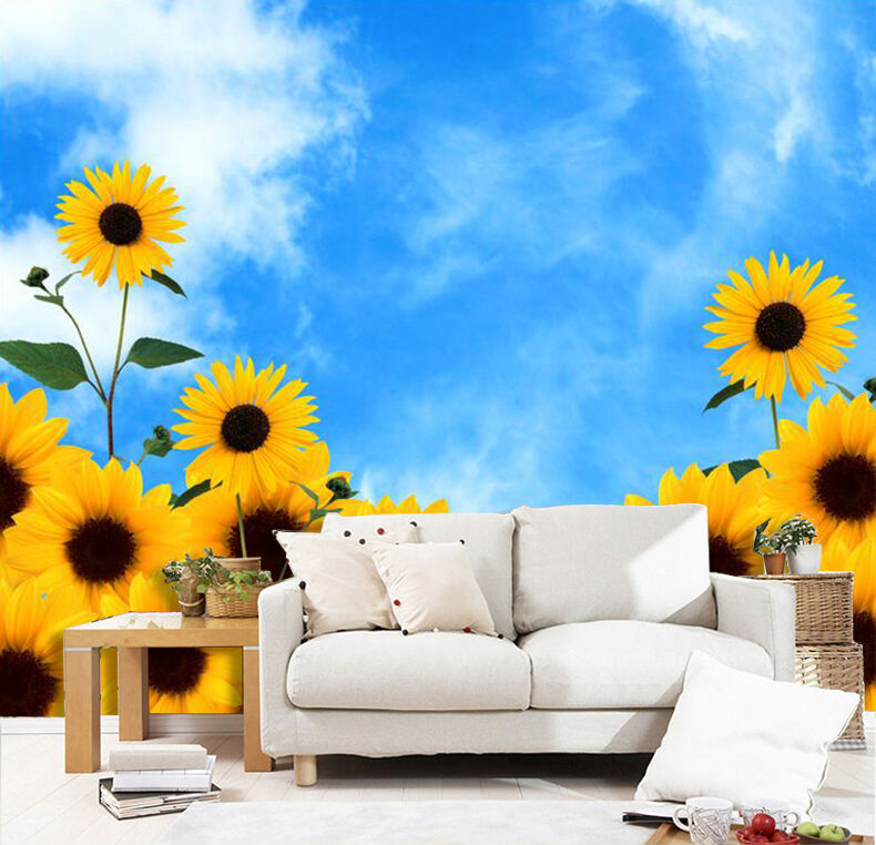 3D Sunflower bluee Sky 0384 Wall Paper Wall Print Decal Wall AJ WALLPAPER CA