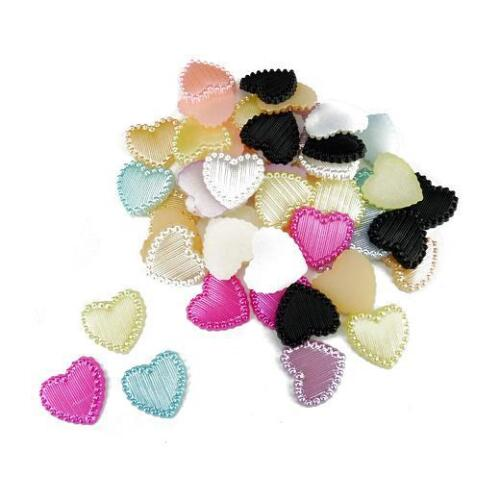 Buddly Crafts 14mm Flatback Hearts Pearls 50pcs Assorted P49