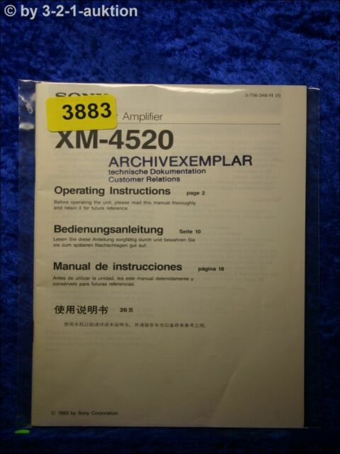 Sony Manual Xm 4520 Amplifier   3883