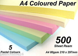 500 Sheet Ream Pastel A4 Coloured Paper - 5 Colours x 100 Sheets 210x297mm 80gsm