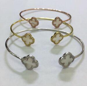 925-Sterling-Silver-Mother-Of-Pearl-Four-Leaf-Clover-Bangle-Bracelet