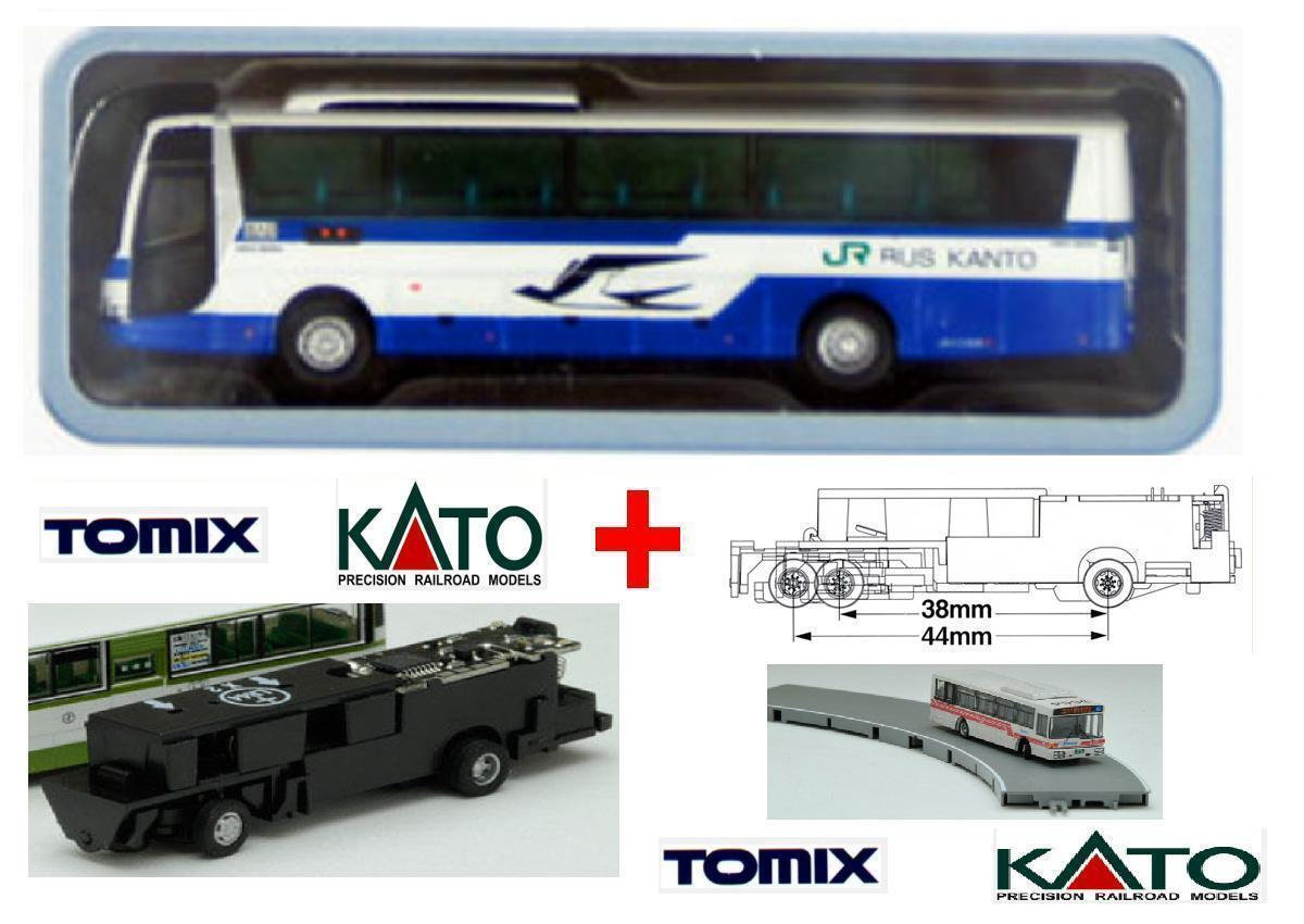 KATO by TOMIX AUTOBUS-5 + CHASSIS MOTORE ELETTRICO-MAGNETICO per SET BUS SCALA-N