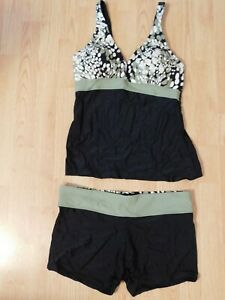 d49f9aad39307 Womens Olive (Green) White, Black Tankini with Bottoms - L (size 12 ...
