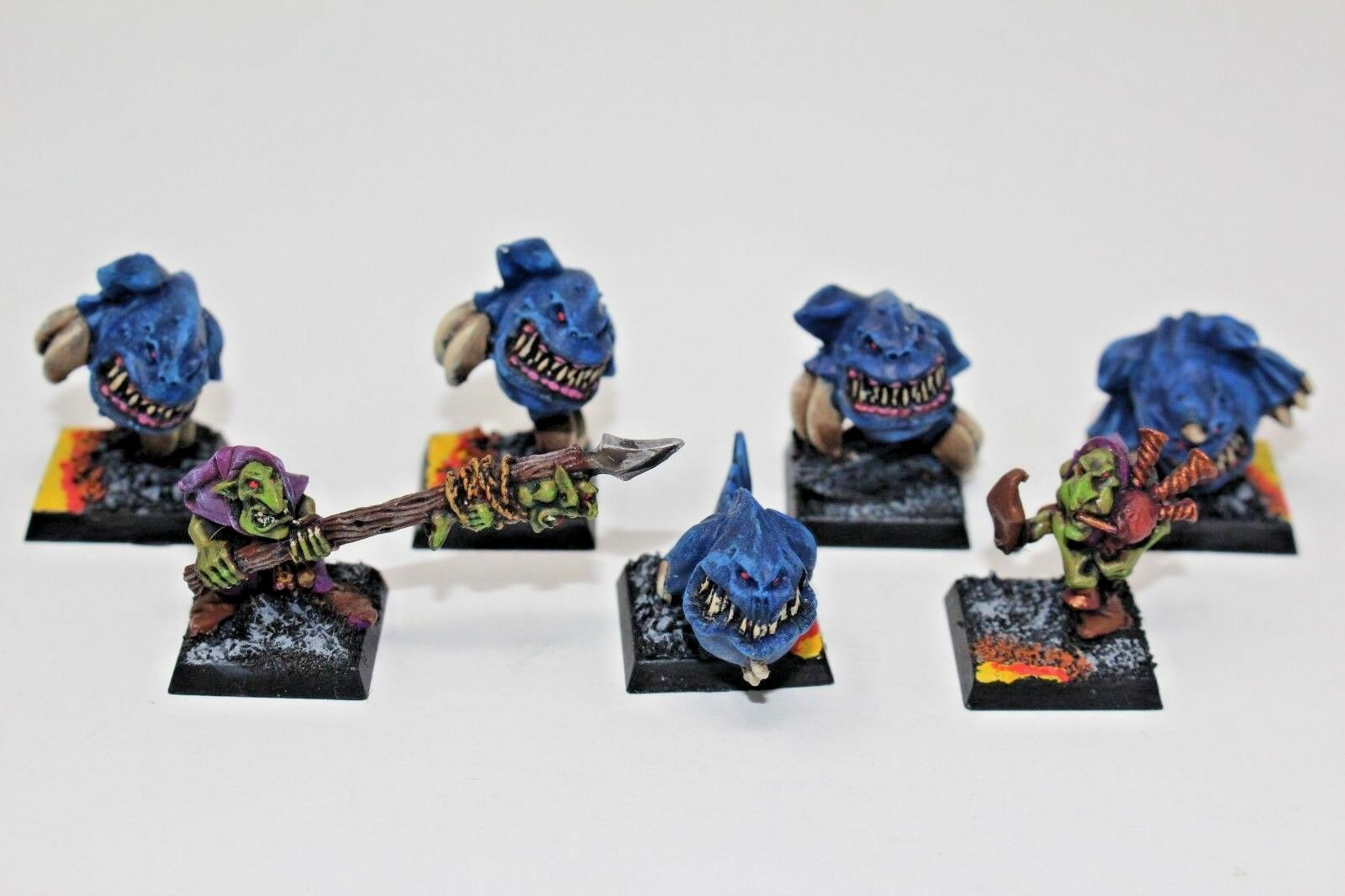 Warhammer Orcs and Goblins Night Goblins Squig and Handlers Metal Well Painted