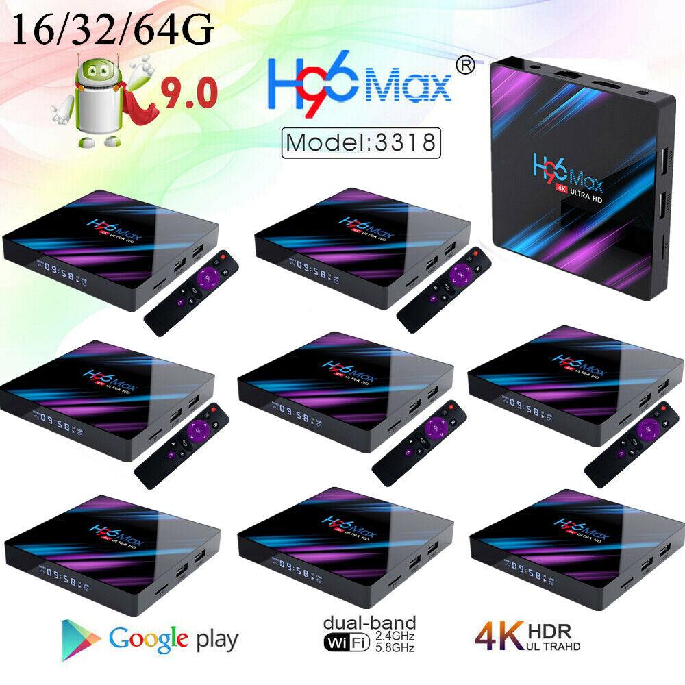 H96 Max Android 9.0 RK3318 Smart TV Box Quad Core 4K UHD WiFi DDR3 LOT G0K9 android box core h96 max quad rk3318 smart uhd wifi