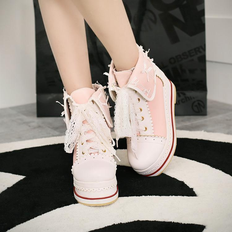 Lolita Womens Canvas shoes Sneakers High Top ankle boot Platform Creeper Pumps