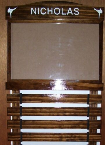WALNUT STAIN KARATE BELT  DISPLAY RACK 4 SLATS WITH DOCUMENT HOLDER 11 X 17