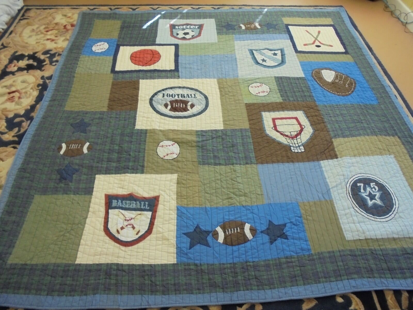 All Sports Theme Pattern w Frame Quilt