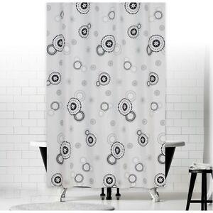 Rideau de douche en tissu 180x200 blanc gris noir cercles 180 x 200 ...