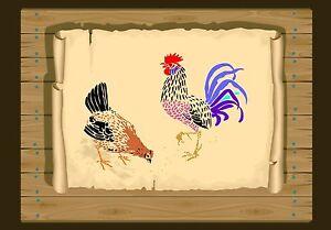 Rooster-amp-Hen-of-The-Farmyard-Stencil-350-micron-Mylar-not-thin-stuff-Bird026