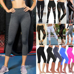 a7b47e9282 Image is loading Womens-Yoga-Workout-Gym-Cropped-Pants-Legging-Fitness-