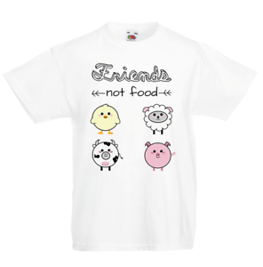 NEW-tshirt-Friends-not-Food-9-11-years-old-boys-or-girls-White-unisex