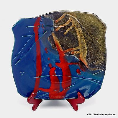 """Studio Art Pottery Drip Glaze Square Decorative Plate Teal Blue Red Signed 10"""""""