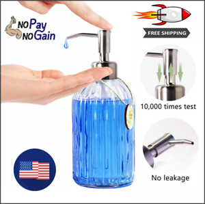 Refillable Silver Glass Soap Dispenser with Rust Proof Stainless Steel Pump