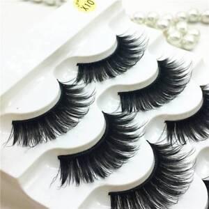 52b9116ada4 5Pair 100% Real Mink 3D Volume Corner Thick False Eyelashes Strip ...