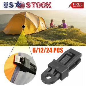 10pc Emergency Tie Down Awning Set Tarp Clips Snap Cover Tent  Clamp Car Boat