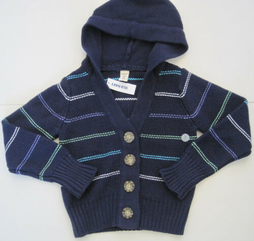 OLD NAVY Girl/'s Navy Blue Striped Hooded Cardigan Sweater Size Small NWT