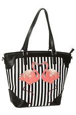 Banned Vintage Retro Flamingo Striped Stripe Shoulder Handbag Blair Bag