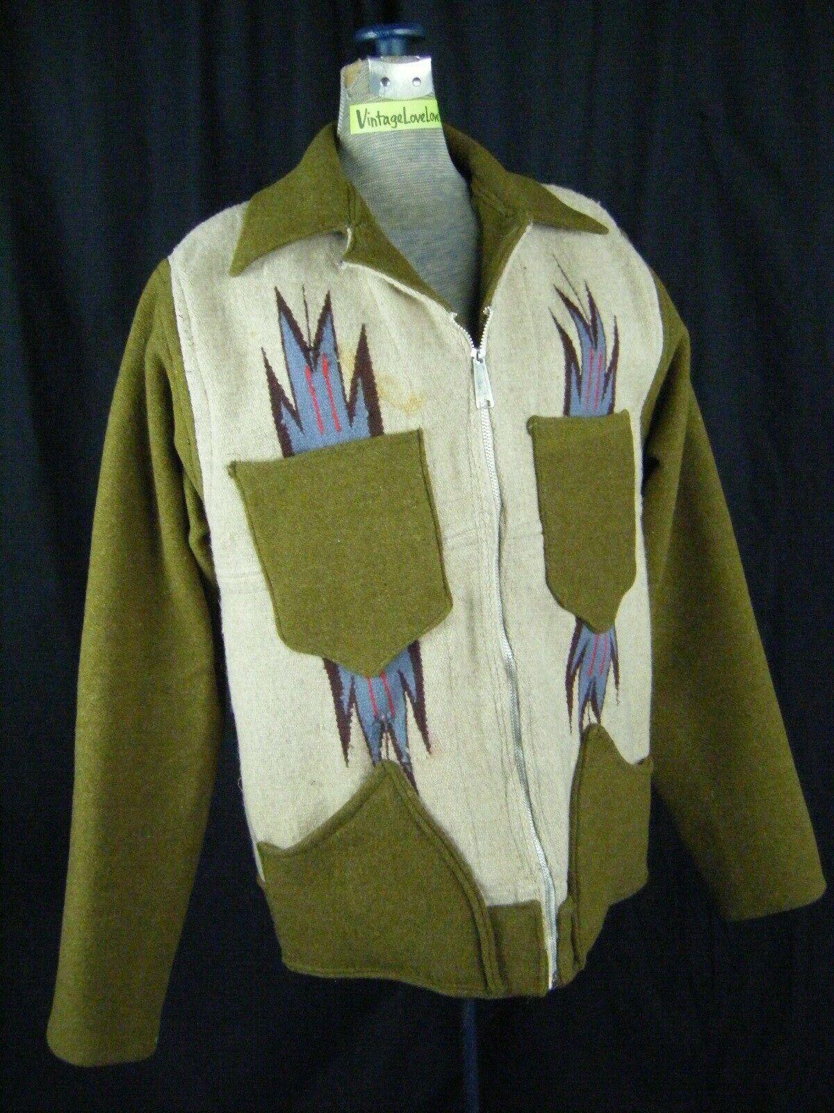 Vintage Chimayo Blanket Men Olive Green/Taupe Jac… - image 3