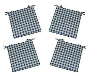 Details About Set Of 4   Indoor Blue Plaid Country Check Gingham Chair  Cushions   Choose Size