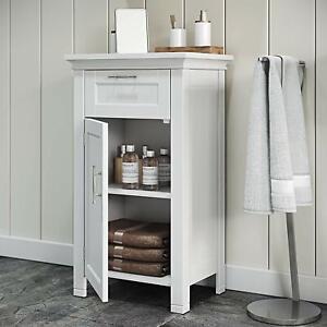 White Narrow Wooden Floor Cabinet 3 Tier Towel Storage ...